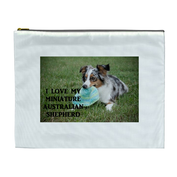 Blue Merle Miniature American Shepherd Love W Pic Cosmetic Bag (XL)