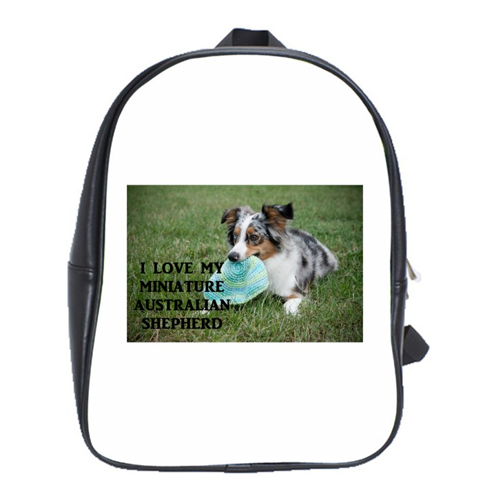 Blue Merle Miniature American Shepherd Love W Pic School Bags(Large)