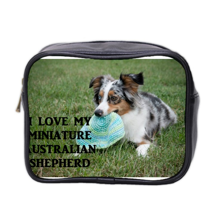 Blue Merle Miniature American Shepherd Love W Pic Mini Toiletries Bag 2-Side