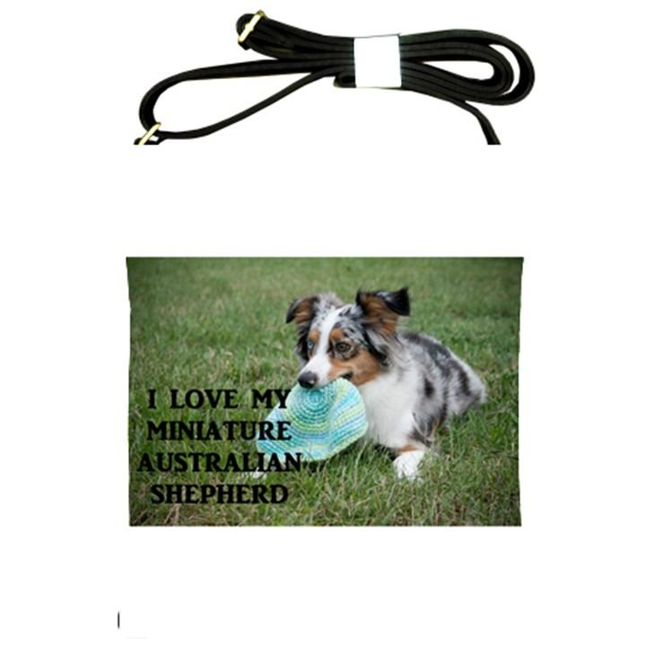 Blue Merle Miniature American Shepherd Love W Pic Shoulder Sling Bags