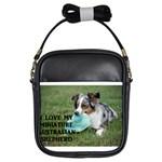 Blue Merle Miniature American Shepherd Love W Pic Girls Sling Bags Front