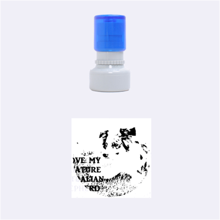 Blue Merle Miniature American Shepherd Love W Pic Rubber Round Stamps (Small)