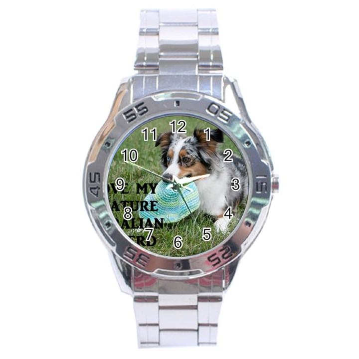 Blue Merle Miniature American Shepherd Love W Pic Stainless Steel Analogue Watch