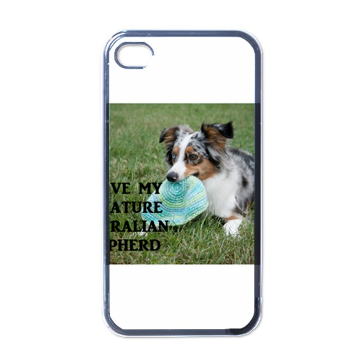 Blue Merle Miniature American Shepherd Love W Pic Apple iPhone 4 Case (Black)