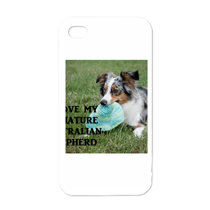 Blue Merle Miniature American Shepherd Love W Pic Apple iPhone 4 Case (White)