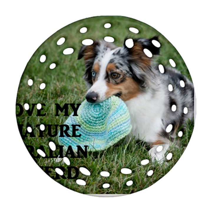 Blue Merle Miniature American Shepherd Love W Pic Ornament (Round Filigree)