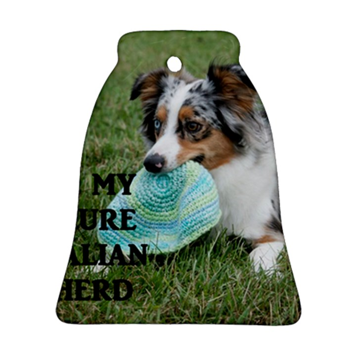 Blue Merle Miniature American Shepherd Love W Pic Ornament (Bell)