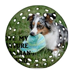 Blue Merle Miniature American Shepherd Love W Pic Round Filigree Ornament (2Side)