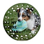 Blue Merle Miniature American Shepherd Love W Pic Round Filigree Ornament (2Side) Front