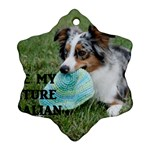 Blue Merle Miniature American Shepherd Love W Pic Snowflake Ornament (2-Side) Front