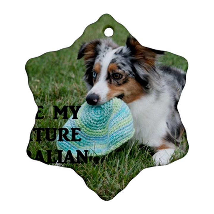 Blue Merle Miniature American Shepherd Love W Pic Snowflake Ornament (2-Side)
