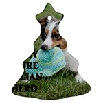 Blue Merle Miniature American Shepherd Love W Pic Christmas Tree Ornament (2 Sides) Front
