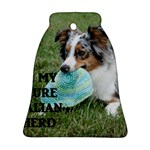 Blue Merle Miniature American Shepherd Love W Pic Bell Ornament (2 Sides) Front
