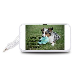 Blue Merle Miniature American Shepherd Love W Pic Portable Speaker (White)
