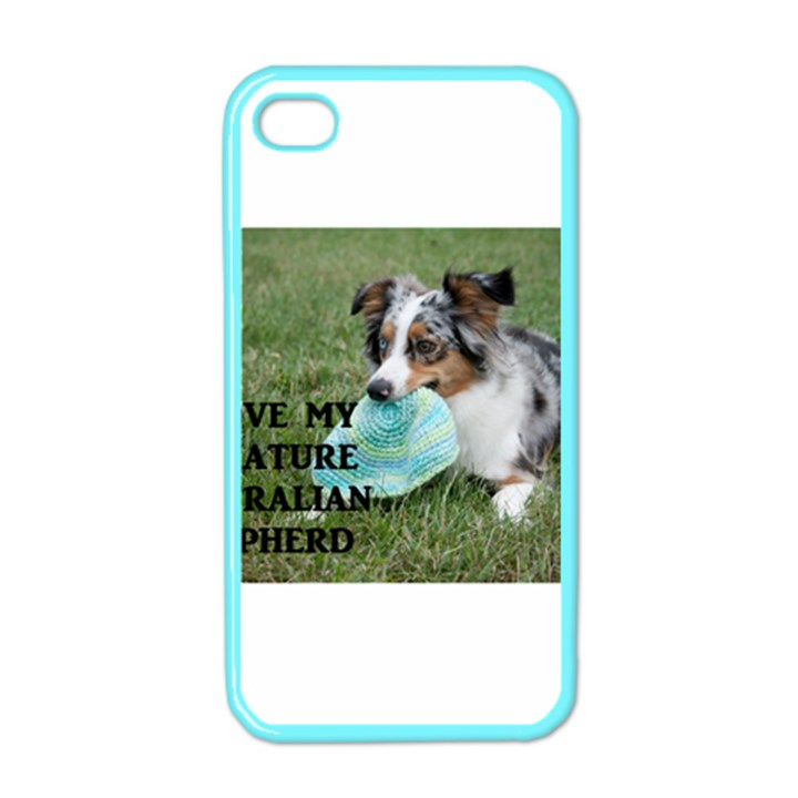 Blue Merle Miniature American Shepherd Love W Pic Apple iPhone 4 Case (Color)