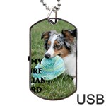 Blue Merle Miniature American Shepherd Love W Pic Dog Tag USB Flash (Two Sides)  Front