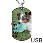 Blue Merle Miniature American Shepherd Love W Pic Dog Tag USB Flash (Two Sides)  Back