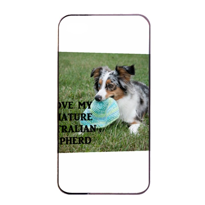 Blue Merle Miniature American Shepherd Love W Pic Apple iPhone 4/4s Seamless Case (Black)