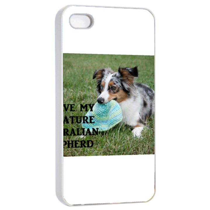 Blue Merle Miniature American Shepherd Love W Pic Apple iPhone 4/4s Seamless Case (White)