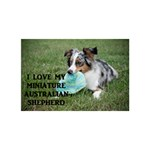 Blue Merle Miniature American Shepherd Love W Pic Heart Bottom 3D Greeting Card (7x5) Back