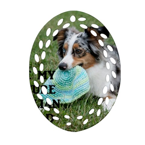 Blue Merle Miniature American Shepherd Love W Pic Oval Filigree Ornament (2-Side)