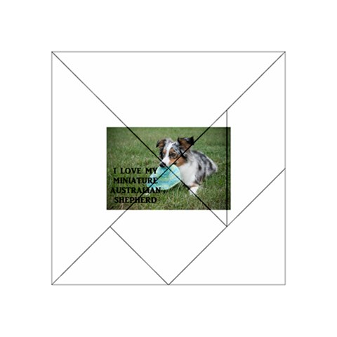 Blue Merle Miniature American Shepherd Love W Pic Acrylic Tangram Puzzle (4  x 4 )