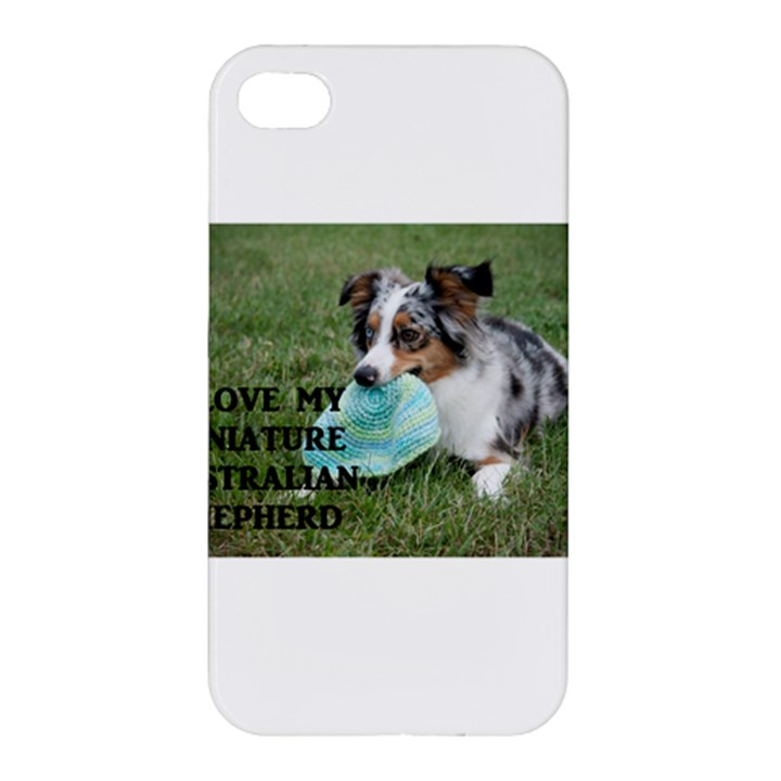 Blue Merle Miniature American Shepherd Love W Pic Apple iPhone 4/4S Premium Hardshell Case