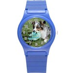 Blue Merle Miniature American Shepherd Love W Pic Round Plastic Sport Watch (S) Front