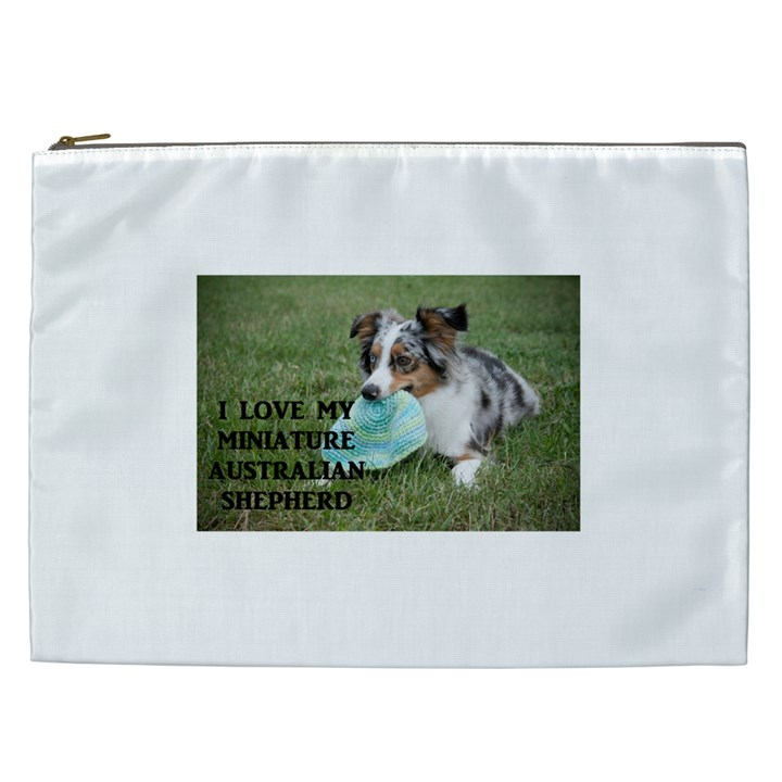 Blue Merle Miniature American Shepherd Love W Pic Cosmetic Bag (XXL)