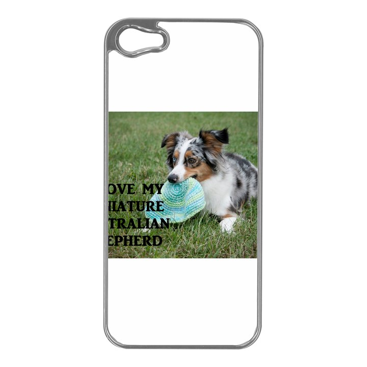 Blue Merle Miniature American Shepherd Love W Pic Apple iPhone 5 Case (Silver)