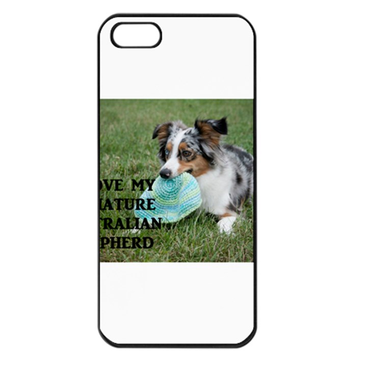 Blue Merle Miniature American Shepherd Love W Pic Apple iPhone 5 Seamless Case (Black)