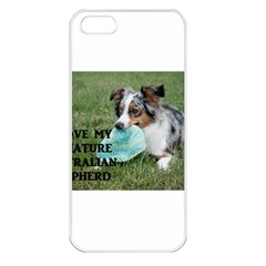 Blue Merle Miniature American Shepherd Love W Pic Apple iPhone 5 Seamless Case (White)