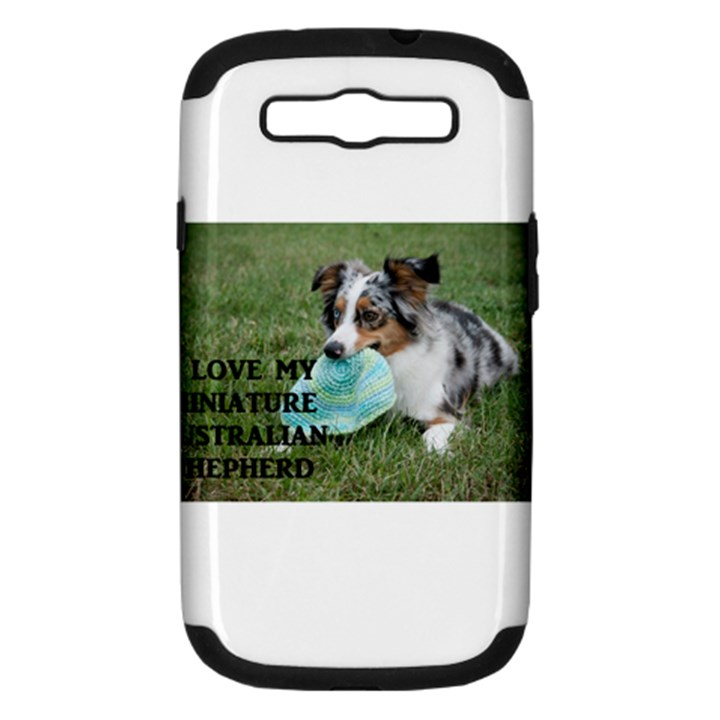 Blue Merle Miniature American Shepherd Love W Pic Samsung Galaxy S III Hardshell Case (PC+Silicone)