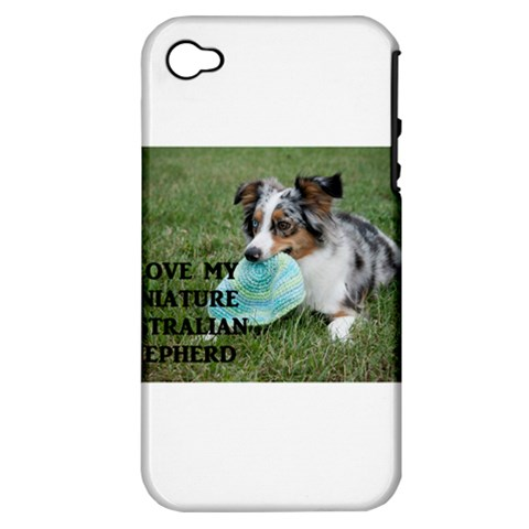 Blue Merle Miniature American Shepherd Love W Pic Apple iPhone 4/4S Hardshell Case (PC+Silicone)