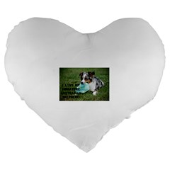 Blue Merle Miniature American Shepherd Love W Pic Large 19  Premium Heart Shape Cushions