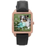 Blue Merle Miniature American Shepherd Love W Pic Rose Gold Leather Watch  Front