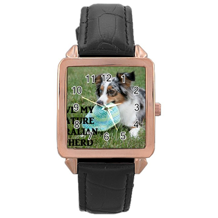 Blue Merle Miniature American Shepherd Love W Pic Rose Gold Leather Watch
