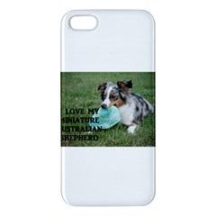 Blue Merle Miniature American Shepherd Love W Pic Apple iPhone 5 Premium Hardshell Case