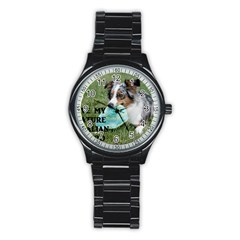 Blue Merle Miniature American Shepherd Love W Pic Stainless Steel Round Watch