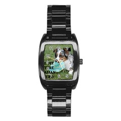 Blue Merle Miniature American Shepherd Love W Pic Stainless Steel Barrel Watch