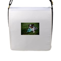Blue Merle Miniature American Shepherd Love W Pic Flap Messenger Bag (L)
