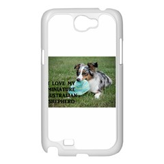 Blue Merle Miniature American Shepherd Love W Pic Samsung Galaxy Note 2 Case (White)