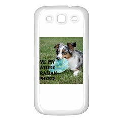 Blue Merle Miniature American Shepherd Love W Pic Samsung Galaxy S3 Back Case (White)