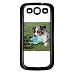 Blue Merle Miniature American Shepherd Love W Pic Samsung Galaxy S3 Back Case (Black) Front