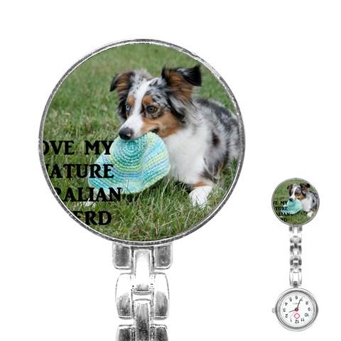 Blue Merle Miniature American Shepherd Love W Pic Stainless Steel Nurses Watch