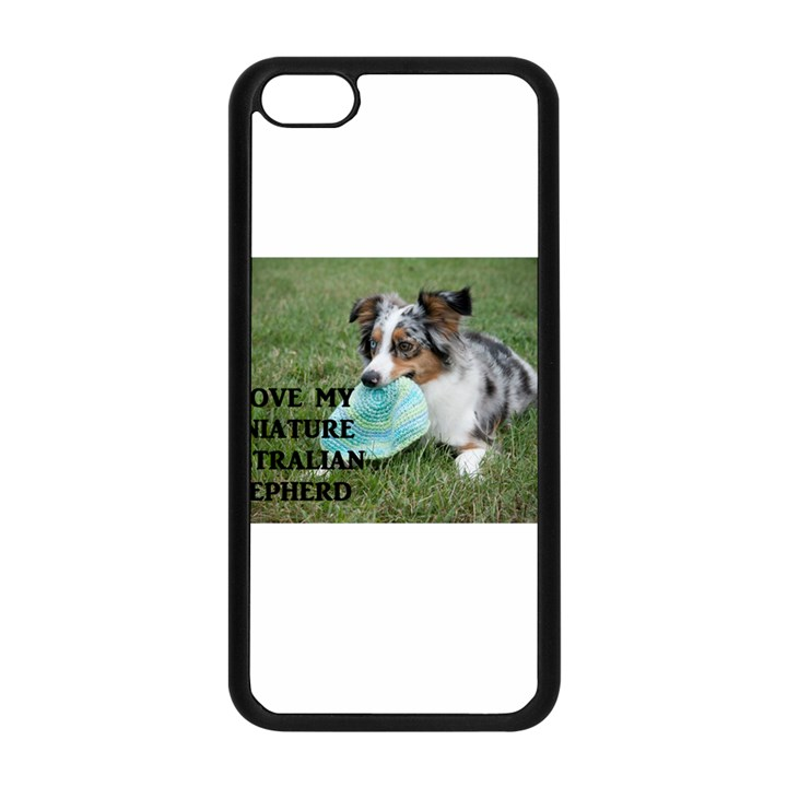 Blue Merle Miniature American Shepherd Love W Pic Apple iPhone 5C Seamless Case (Black)