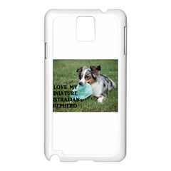 Blue Merle Miniature American Shepherd Love W Pic Samsung Galaxy Note 3 N9005 Case (White)