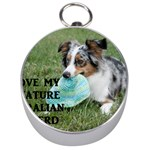 Blue Merle Miniature American Shepherd Love W Pic Silver Compasses Front
