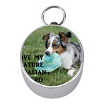 Blue Merle Miniature American Shepherd Love W Pic Mini Silver Compasses Front
