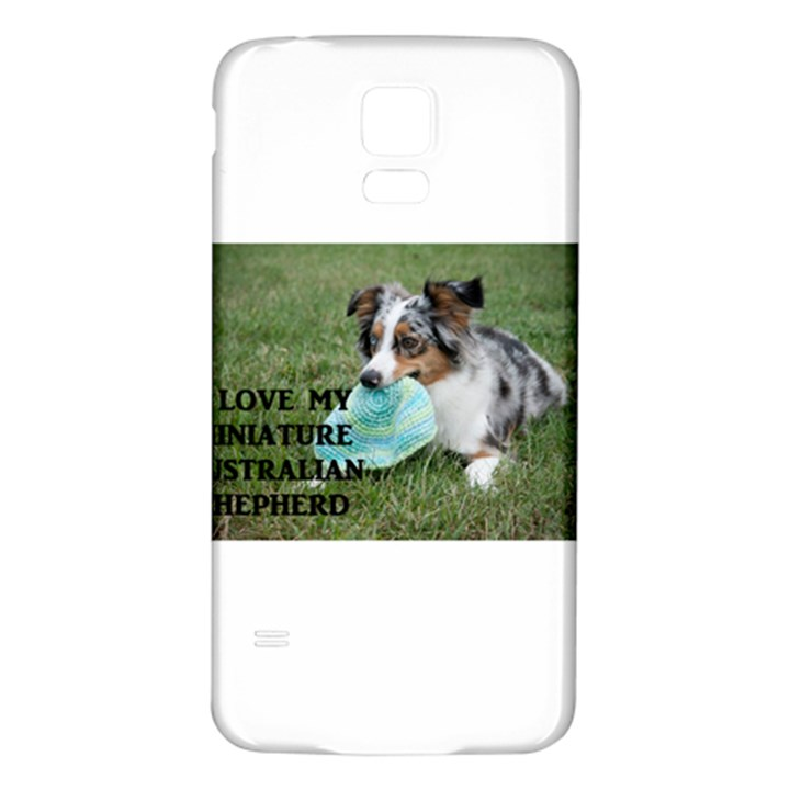 Blue Merle Miniature American Shepherd Love W Pic Samsung Galaxy S5 Back Case (White)